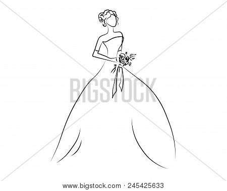 Girl One Line. Sketch Of The Girl, Bride, Princess. Looking At Sideways.  Illustration. Isolated On