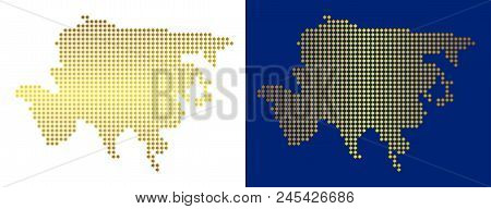Golden Dotted Asia Map. Vector Territorial Maps In Shiny Colors With Vertical And Horizontal Gradien