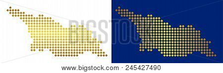 Gold Colored Dot Georgia Map. Vector Geographical Maps In Shiny Colors With Vertical And Horizontal