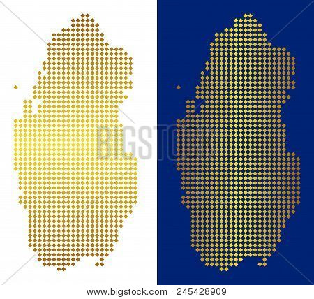 Golden Rhombic Qatar Map. Vector Geographic Maps In Gold Colors With Vertical And Horizontal Gradien