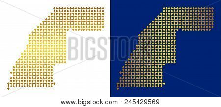 Gold Dot Western Sahara Map. Vector Territorial Maps In Bright Colors With Vertical And Horizontal G