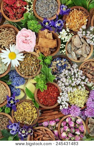 Herbal medicine background with flowers and herbs used in natural alternative and homoeopathic remedies. Top view.