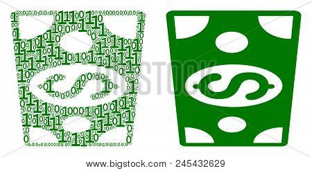 Dollar Banknote Composition Icon Of Zero And Null Digits In Random Sizes. Vector Digits Are Organize