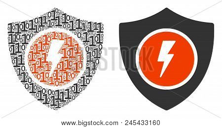 Electric Guard Collage Icon Of One And Zero Digits In Randomized Sizes. Vector Digital Symbols Are O