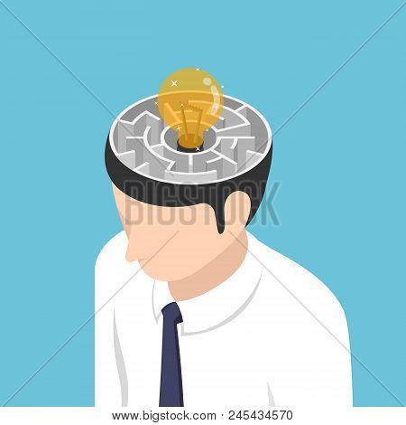 Flat 3d Isometric Light Bulb Of Idea Is In The Center Of Maze Inside Businessman Head. Idea Concept.