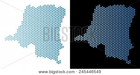 Honeycomb Democratic Republic Of The Congo Map. Vector Territory Plan In Light Blue Color With Horiz