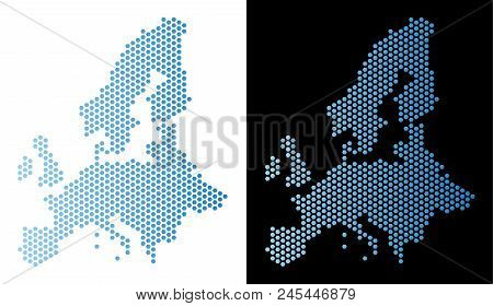 Hex Tile European Union Map. Vector Territorial Scheme In Light Blue Color With Horizontal Gradient