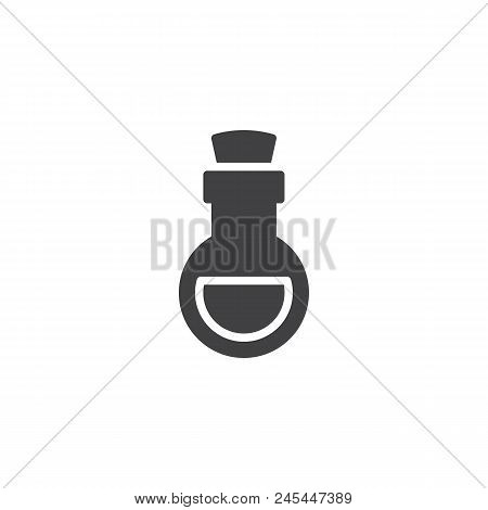 Poison Flask Vector Icon. Filled Flat Sign For Mobile Concept And Web Design. Bottle Of Poison Simpl