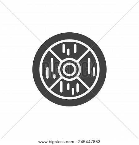 Wooden Shield Vector Icon. Filled Flat Sign For Mobile Concept And Web Design. Medieval Shield Simpl