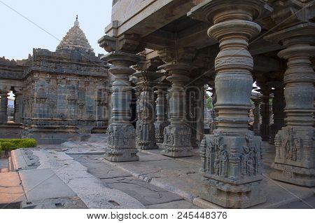Carved Pillars Of The Mahadeva Temple, Was Built Circa 1112 Ce By Mahadeva, A Commander In The Army