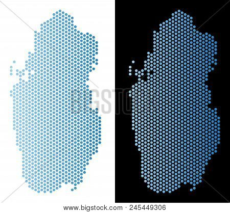Hex Tile Qatar Map. Vector Territory Scheme In Light Blue Color With Horizontal Gradient On White An