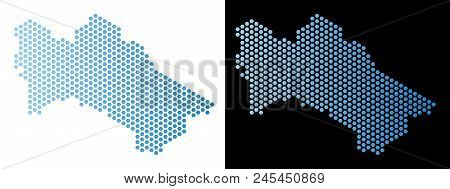 Honeycomb Turkmenistan Map. Vector Territory Scheme In Light Blue Color With Horizontal Gradient On
