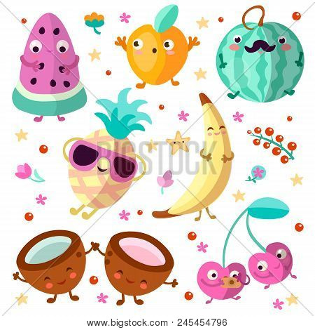 Happy Cartooning Fruits Vector Illustration. Set Of Tropical Childish Fruit, Relaxing And Happy, Iso
