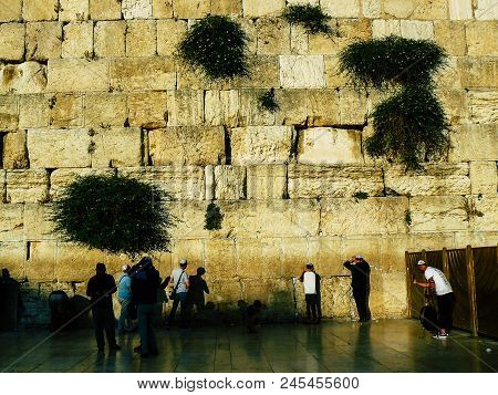 Jerusalem Israel May 31, 2018 View Of Unknowns People Praying Front The Western Wall In The Old City