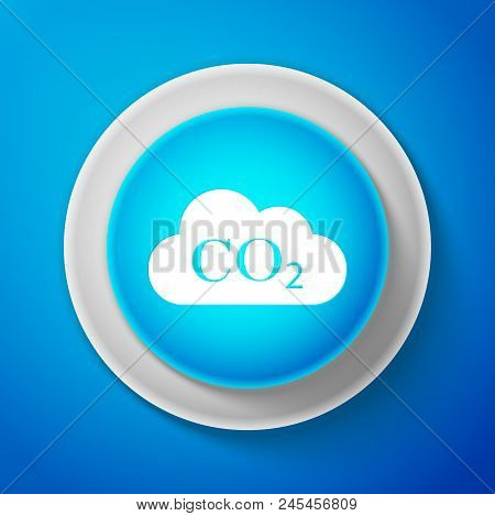 White CO2 emissions in cloud icon isolated on blue background. Carbon dioxide formula symbol, smog pollution concept, environment concept, combustion products. Circle blue button. Vector Illustration poster