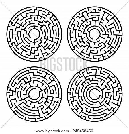 Set Of Maze Circle. Labyrinth. Maze Symbol. Isolated On White Background
