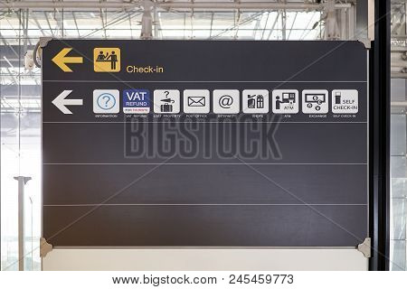 Check In And Service Guide Information Board Sign International Airport