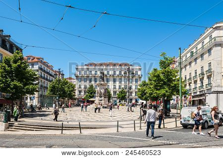 Lisbon, Portugal - May 19, 2017: People In The Square Of Luis De Camoes (praca Luis De Camoes), One