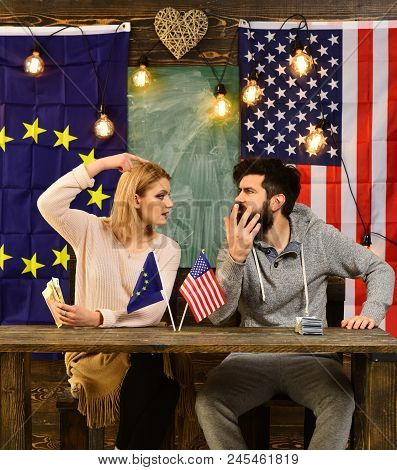Foreign Policy Conflict. Bearded Man And Woman Politician At Conference. Partnership Between Usa And
