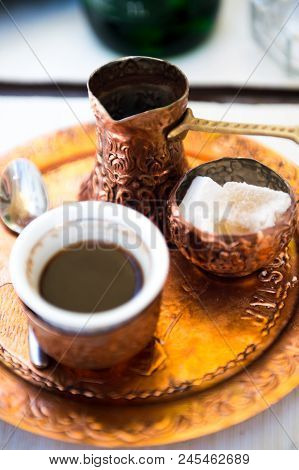 Traditional Bosnian Coffee Served Traditional Way On A Copper Plate.