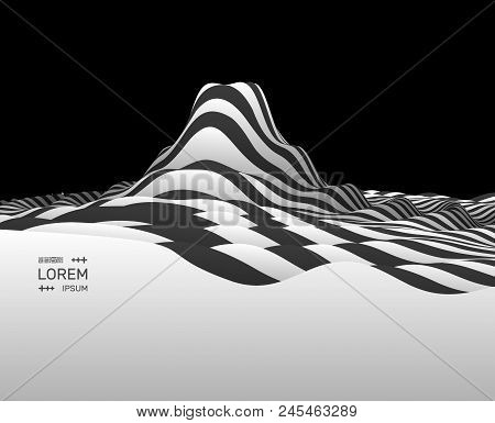 Landscape Background. Terrain. Black And White Background. Pattern With Optical Illusion. 3d Vector