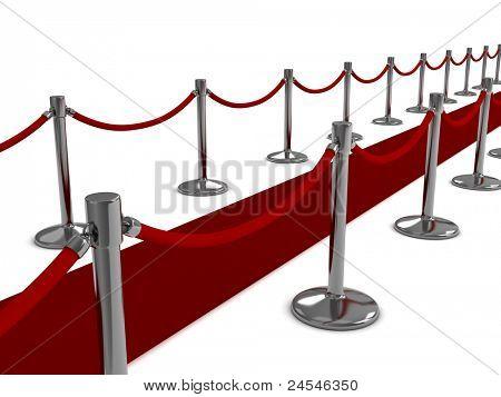 3D Illustration of a Red Carpet Scene