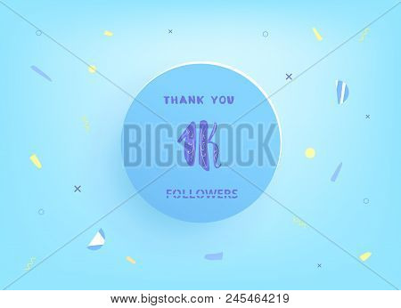 1k Followers Thank You Post With Decoration. 1000 Subscribers  Vintage Banner With Round Badge. Gree