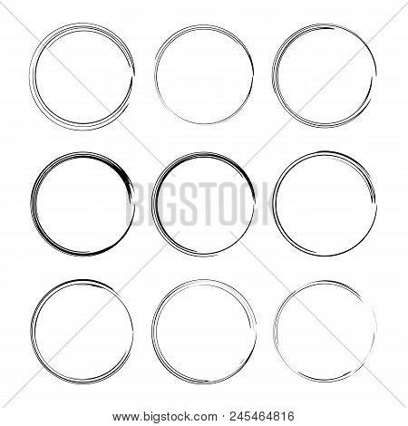 Set Of Black Round Grunge Frames.  Vector Illustration.