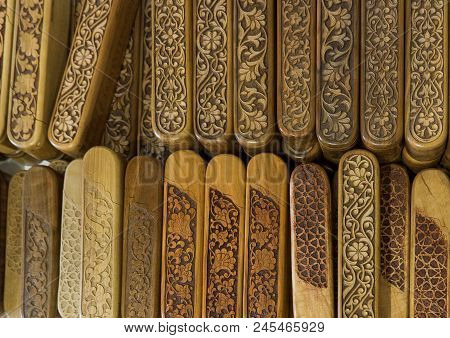 Group Of Wooden Complicated Decorated Carved Pencil Box. Engraved Wooden Pencil Case.