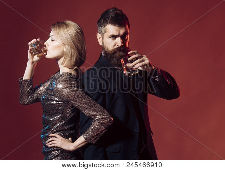 Worst Office Holiday Party Stories. Man In Suit And Fancy Lady At Corporate Party Drinking. Celebrat