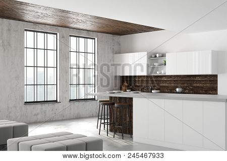 Loft Kitchen Interior With Furniture, Appliances, City View And Daylight. Side View. 3d Rendering