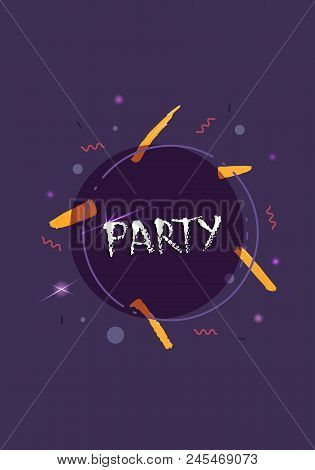 Party Banner. Vertical Event Flyer For Holiday Design With Geometric Decorative Elements And Creativ