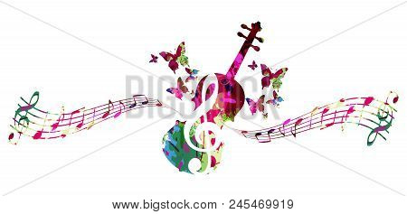 Music Colorful Background With Music Notes And Violoncello Vector Illustration Design. Music Festiva