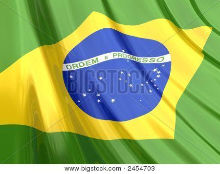 Glossy Flag Of Brazil