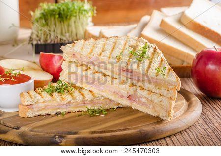 Panini Cheese Ham Toast, Fresh Apple, Back To Shool Sandwich, Food Photography
