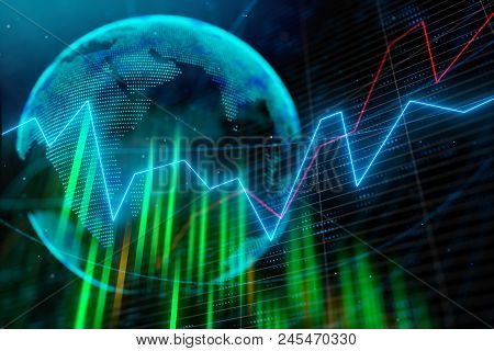 Digital Forex Interface With Globe Map. International Business And Data Concept. 3d Rendering