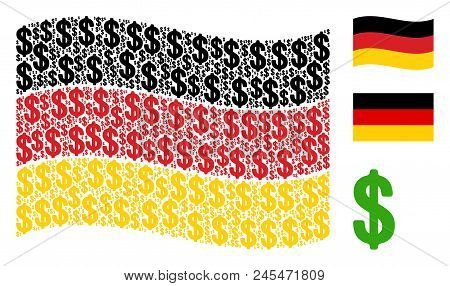 Waving Germany State Flag. Vector Dollar Pictograms Are Organized Into Mosaic German Flag Compositio