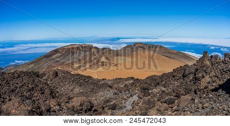 Pico Viejo Crater Viewed From Teide Hillside, Canary Island