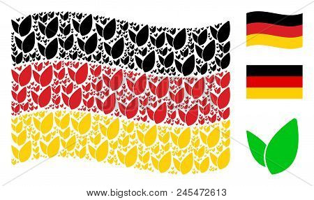Waving German State Flag. Vector Floral Sprout Icons Are Arranged Into Conceptual German Flag Illust