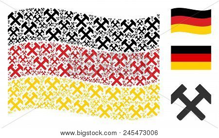Waving German Official Flag. Vector Hammers Elements Are Placed Into Geometric German Flag Collage.