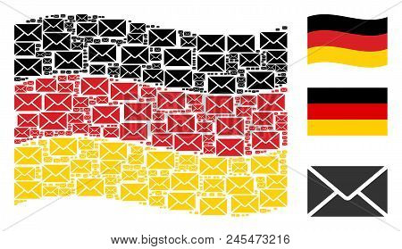 Waving German State Flag. Vector Mail Envelope Design Elements Are Formed Into Conceptual German Fla