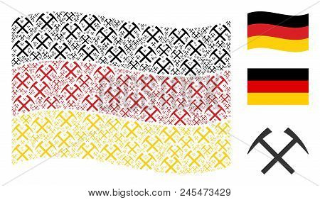 Waving Germany State Flag. Vector Mining Hammers Design Elements Are Formed Into Conceptual Germany