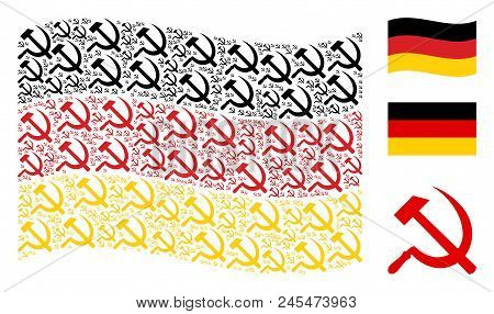 Waving Germany Flag. Vector Sickle And Hammer Items Are Scattered Into Mosaic Germany Flag Collage.