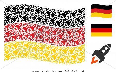 Waving German State Flag. Vector Space Rocket Launch Elements Are United Into Geometric German Flag