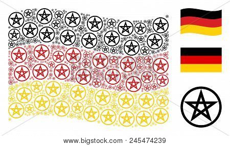 Waving German Official Flag. Vector Star Pentacle Design Elements Are Arranged Into Mosaic Germany F