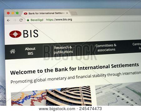 Amsterdam, Netherlands - June 14, 2018: Website Of The Bank For International Settlements Or Bis, An