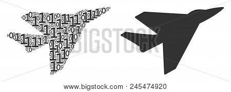 Airplane Intercepter Composition Icon Of Zero And One Symbols In Randomized Sizes. Vector Digit Symb