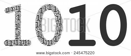 Ten Digits Text Composition Icon Of Binary Digits In Random Sizes. Vector Digit Symbols Are Combined