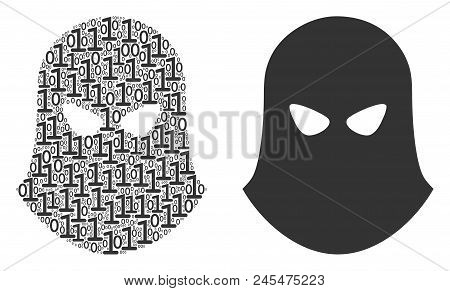 Terrorist Balaklava Composition Icon Of Zero And Null Digits In Variable Sizes. Vector Digit Symbols