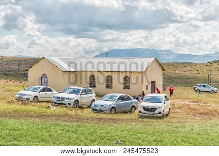 Herschel, South Africa - April 1, 2018: A Church Near Herschel In The Eastern Cape Province. People